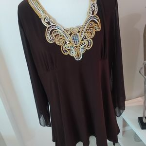 Gorgeous Jeweled Neck  Brown Blouse